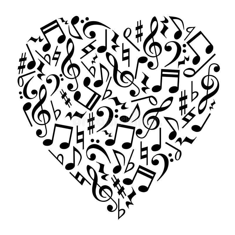 A música nota o coração ilustração royalty free