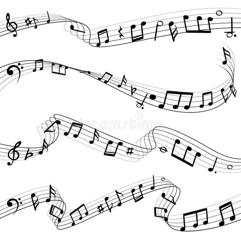 A música nota o fluxo Composição da chave da nota musical, silhuetas do preto da melodia, grupo do vetor de ondas da música ilustração do vetor