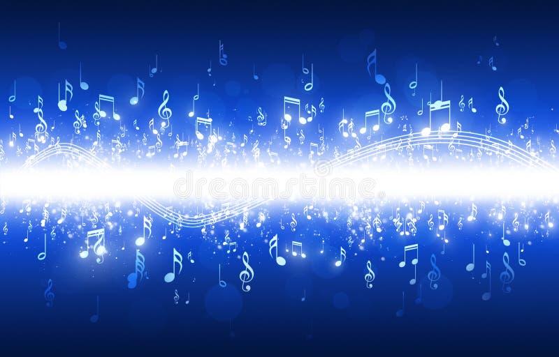 A música nota o fundo azul ilustração do vetor