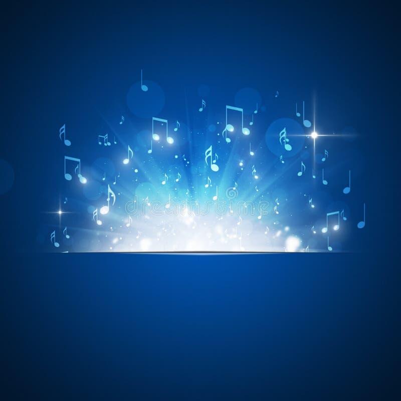 A música nota o fundo do azul da explosão ilustração stock
