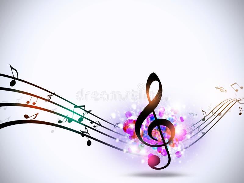 A música nota o fundo funky brilhante ilustração stock