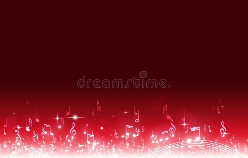 A música nota o fundo vermelho ilustração stock