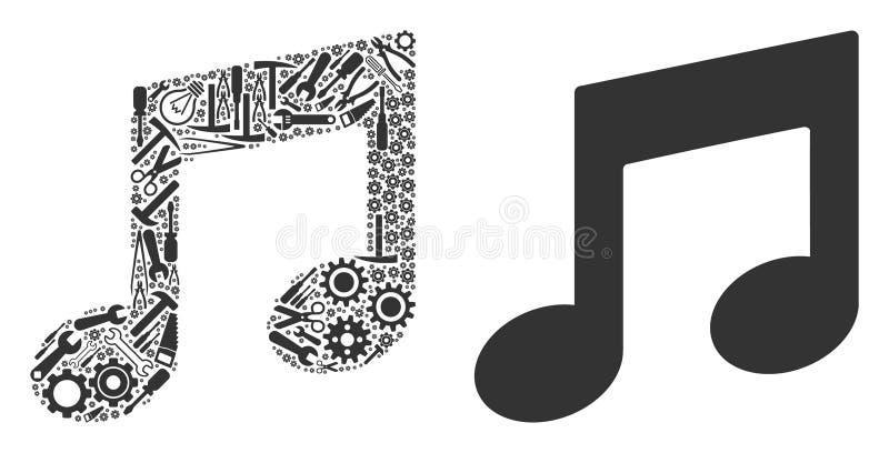 A música nota o mosaico de ferramentas do serviço ilustração royalty free