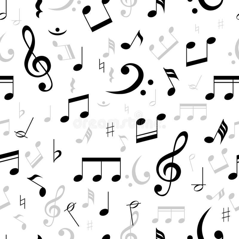 A música nota o teste padrão sem emenda ilustração stock