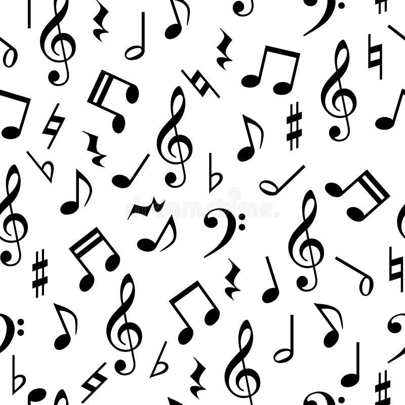 A música nota o teste padrão sem emenda ilustração do vetor