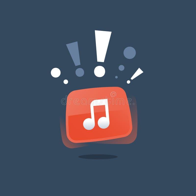 Música nova, aplicação da música, anúncio do evento, estúdio de gravação audio ilustração do vetor