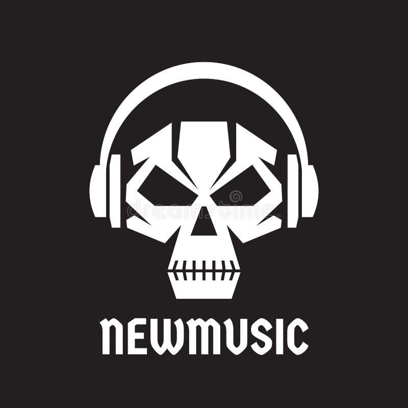 Música nova - vector a ilustração do conceito do molde do logotipo Crânio humano com sinal dos fones de ouvido Sinal do áudio da  ilustração royalty free