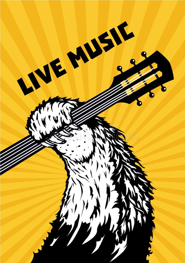 Música a o vivo Pata animal com guitarra Fundo musical do cartaz para o concerto de rocha Ilustração do vetor do estilo da tatuag ilustração stock