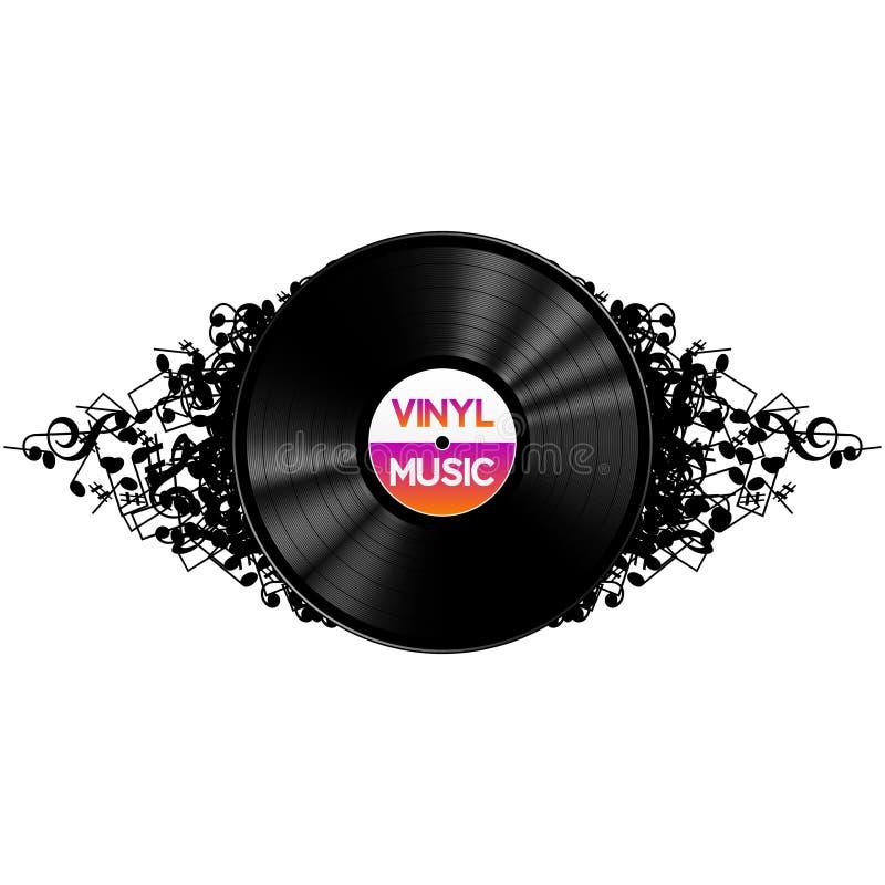 A música preta do registro de vinil no sumário nota o fundo ilustração royalty free