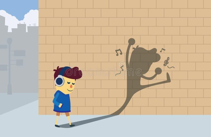 Música que escucha del muchacho del código de barras del nuevo producto pero su mirada de la sombra como él baile libre illustration