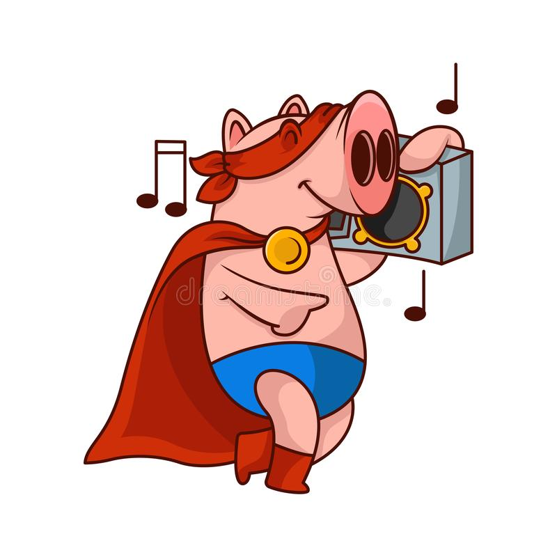 Música que escucha del super héroe alegre del cerdo con la grabadora Animal humanizado divertido Personaje de dibujos animados Di libre illustration