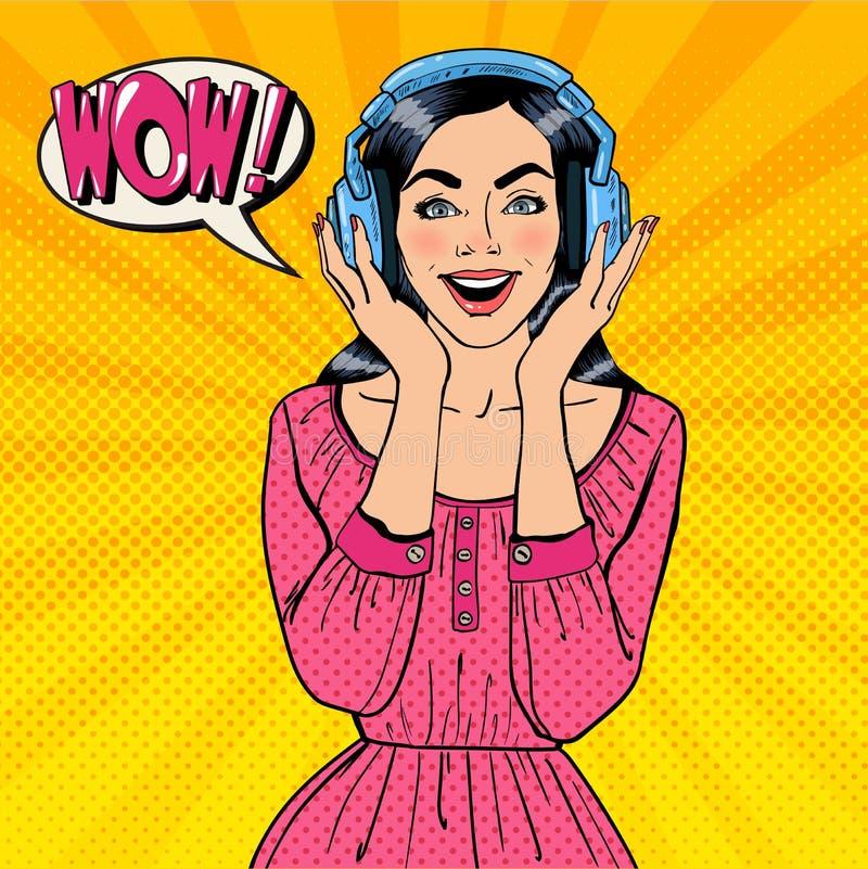 Música que escucha emocionada de la mujer joven Muchacha en auriculares Arte pop ilustración del vector