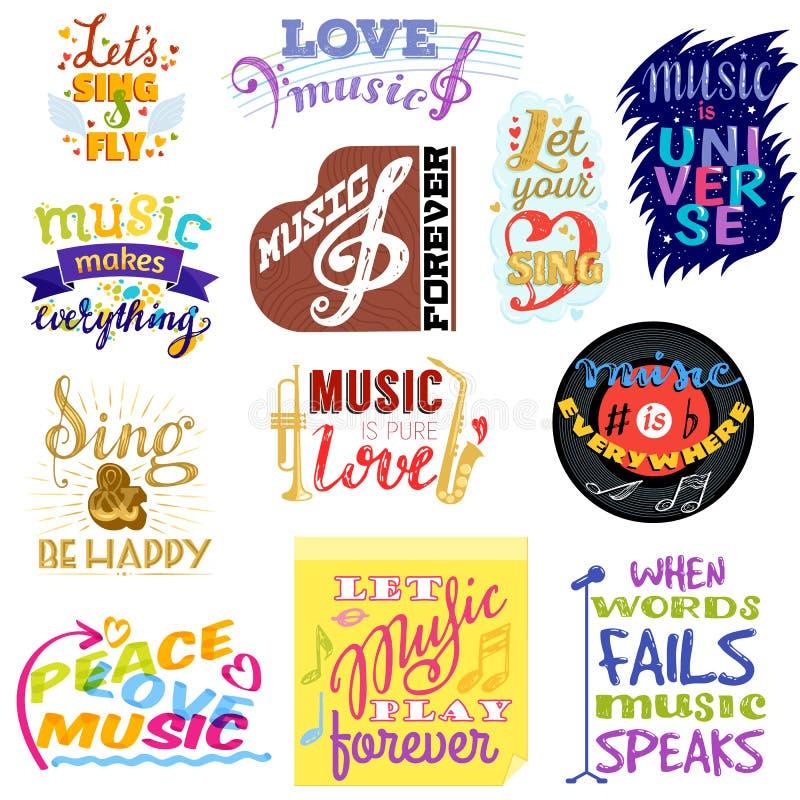 Música que pone letras al texto de la caligrafía de la muestra de la tipografía musical del vector o a la cita gráfico del amor p ilustración del vector