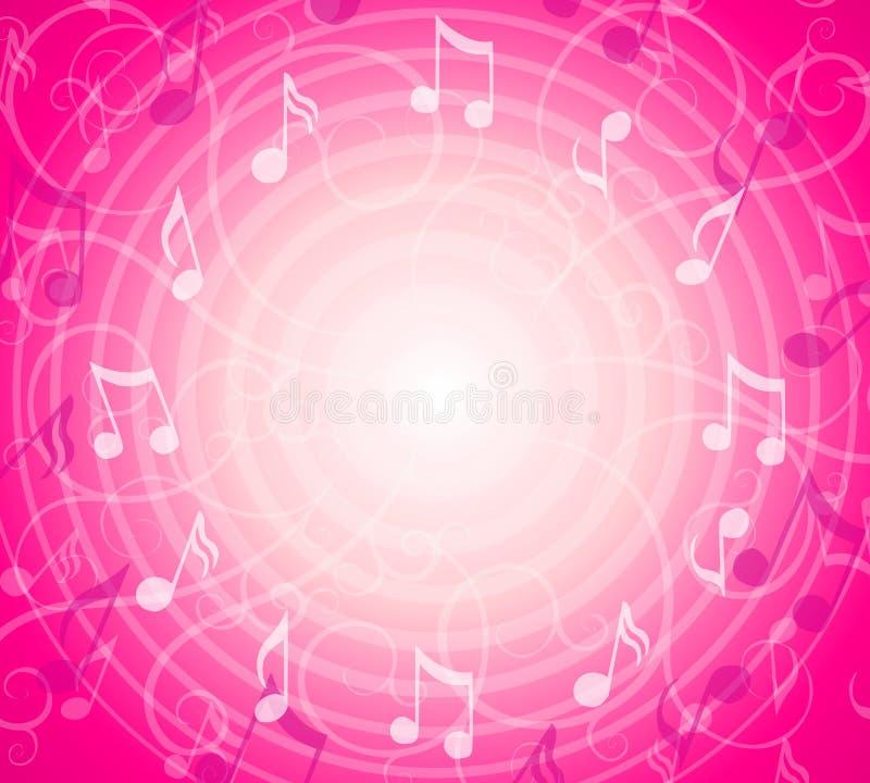 A música radial anota o fundo cor-de-rosa ilustração do vetor