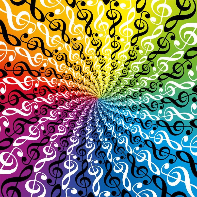Música radial colorida arco-íris Spirale do teste padrão das claves de sol ilustração royalty free