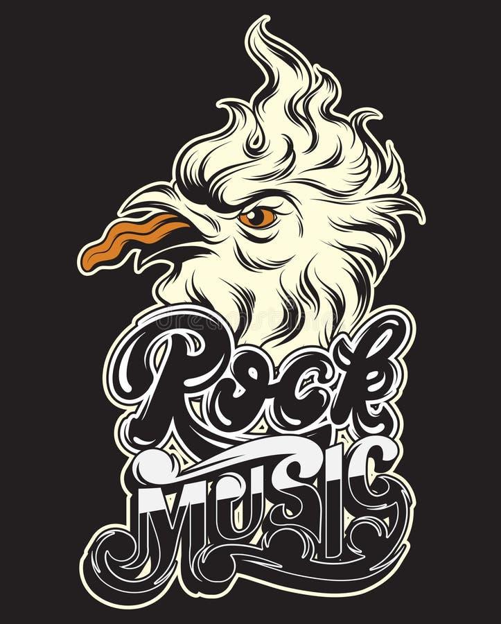 Música rock Ilustração tirada mão do vetor do pássaro louco ilustração royalty free