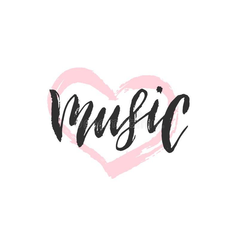 Música, rotulação escrita à mão ilustração do vetor