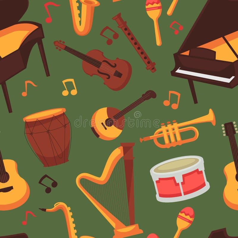 Música sem emenda do teste padrão dos instrumentos musicais e clássico ou jazz da arte ilustração do vetor