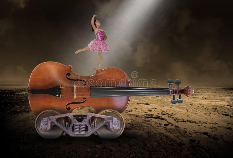 Música surreal, violino, bailado, dança, menina imagens de stock