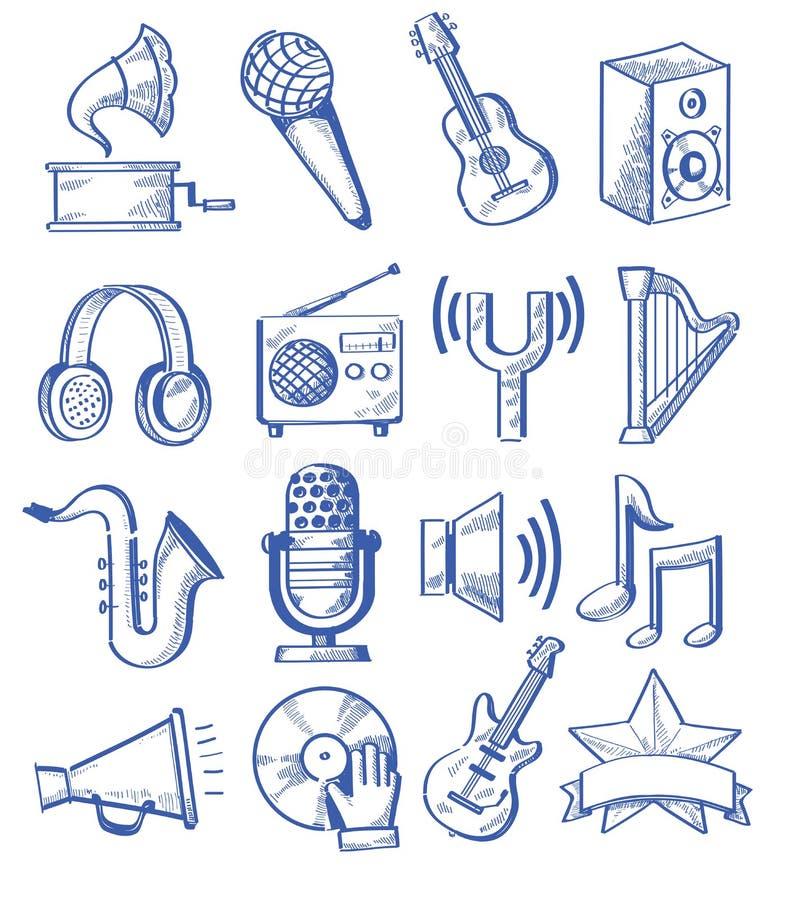 Música tirada mão ilustração royalty free