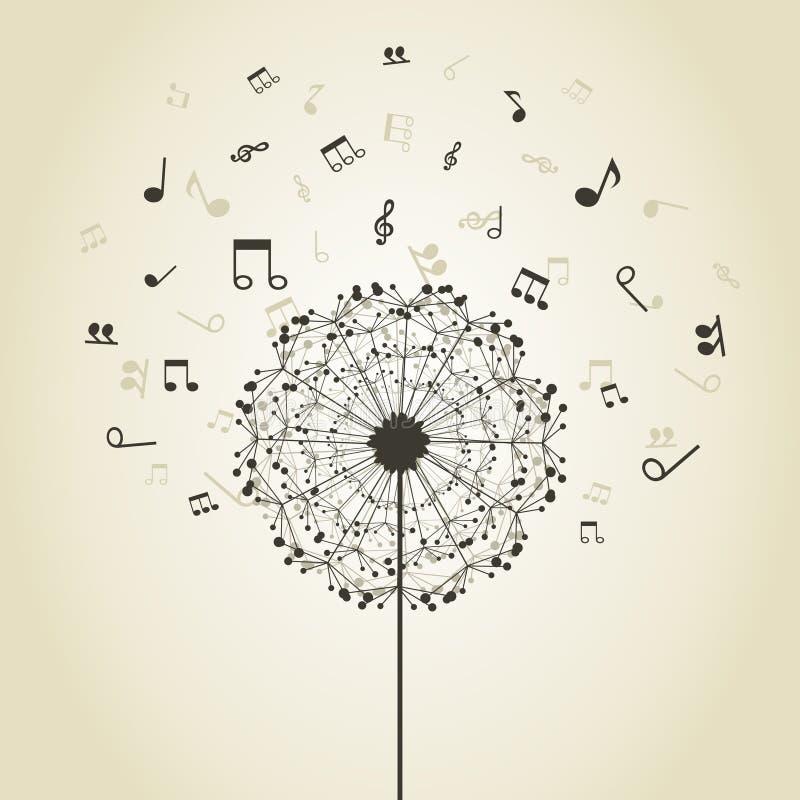 Música un diente de león ilustración del vector