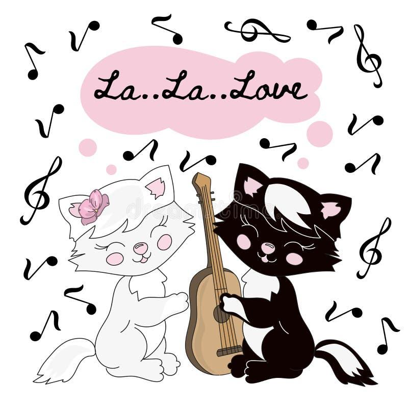 MÚSICA Valentine Vetora Illustration Set do CAT para a cópia ilustração do vetor