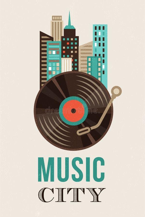 Música y fondo del paisaje de la ciudad stock de ilustración