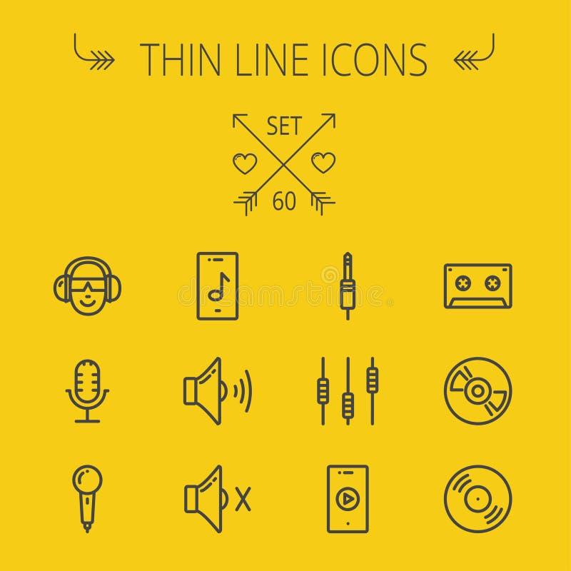 Música y línea fina sistema del entretenimiento del icono libre illustration