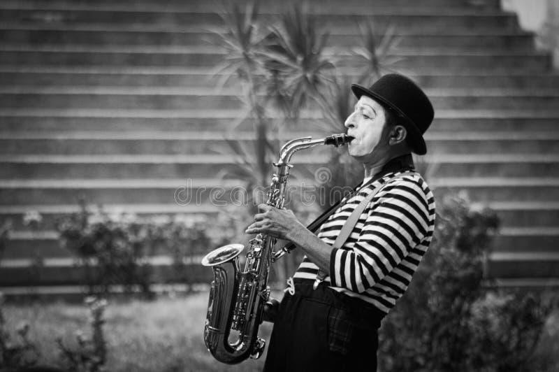 Música y pantomima foto de archivo