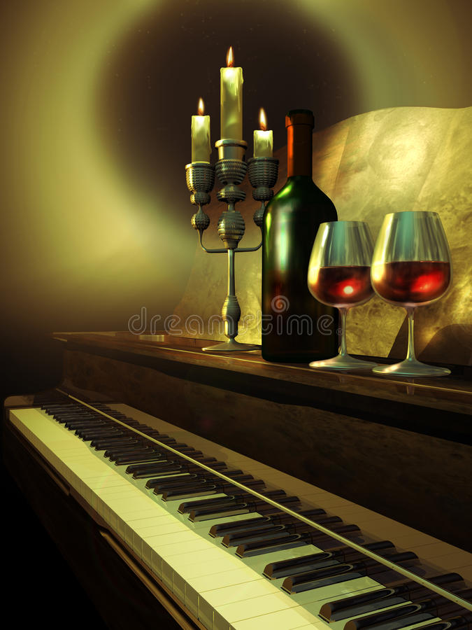 Música y vino stock de ilustración