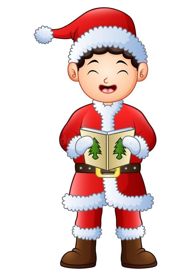 Músicas de natal do Natal do canto do menino dos desenhos animados isoladas no fundo branco ilustração stock