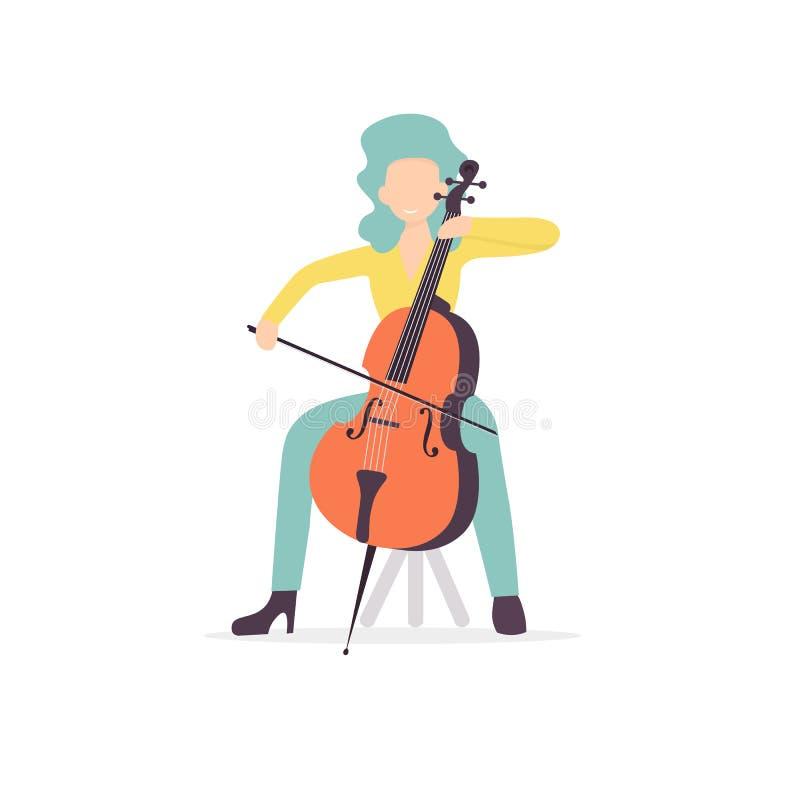 Músico bonito do caráter da mulher do violoncelo ilustração stock