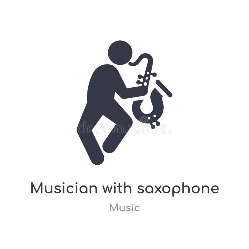 músico con el icono del esquema del saxofón l?nea aislada ejemplo del vector de la colecci?n de m?sica músico fino editable del m libre illustration