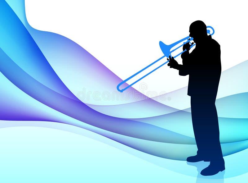Músico da trombeta no fundo de fluxo abstrato ilustração stock