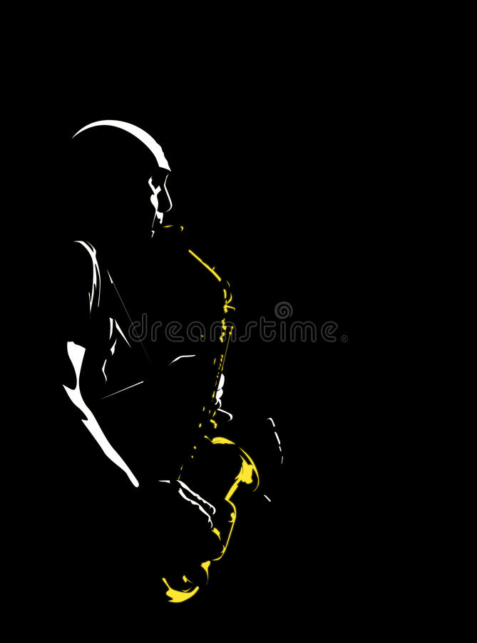 Músico de jazz stock de ilustración