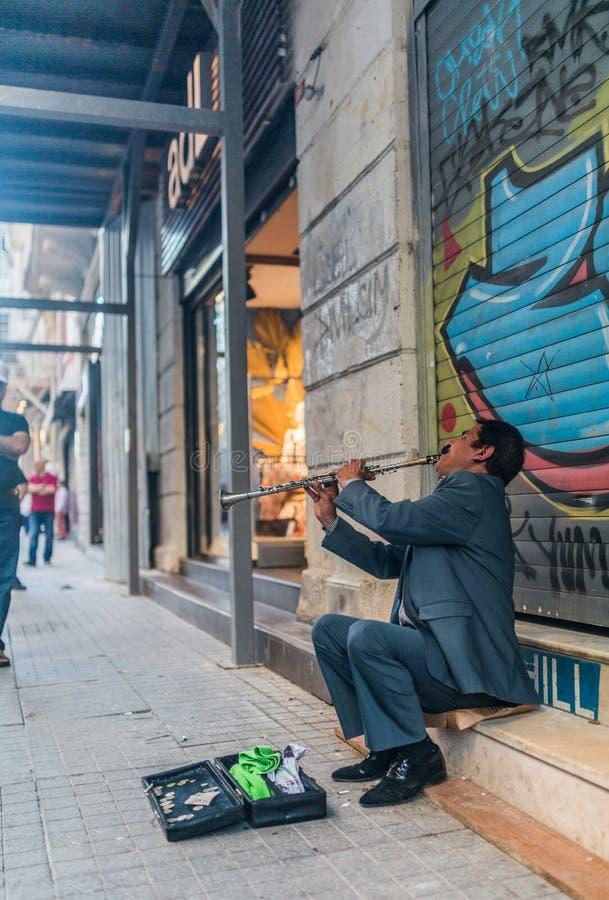 Músico de la calle en Estambul fotografía de archivo