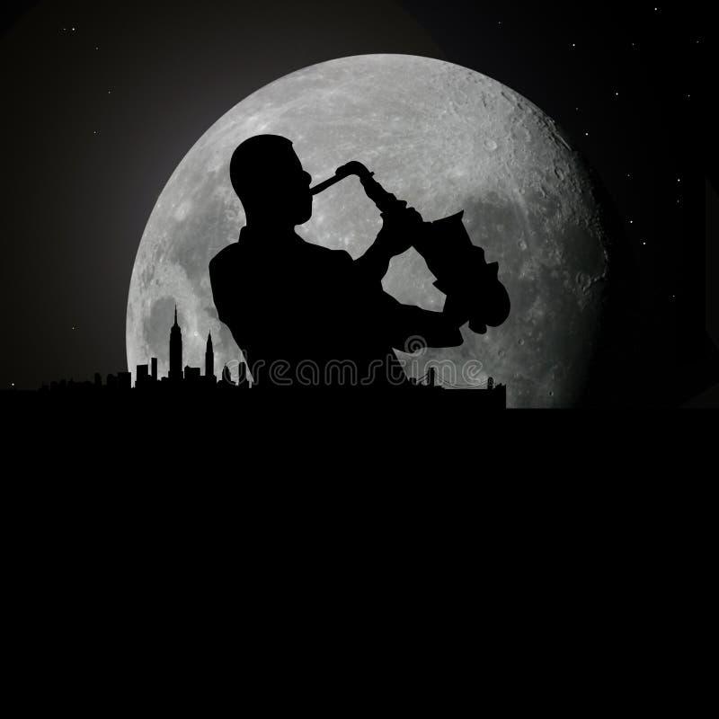 Músico de los azules del jazz en el claro de luna stock de ilustración
