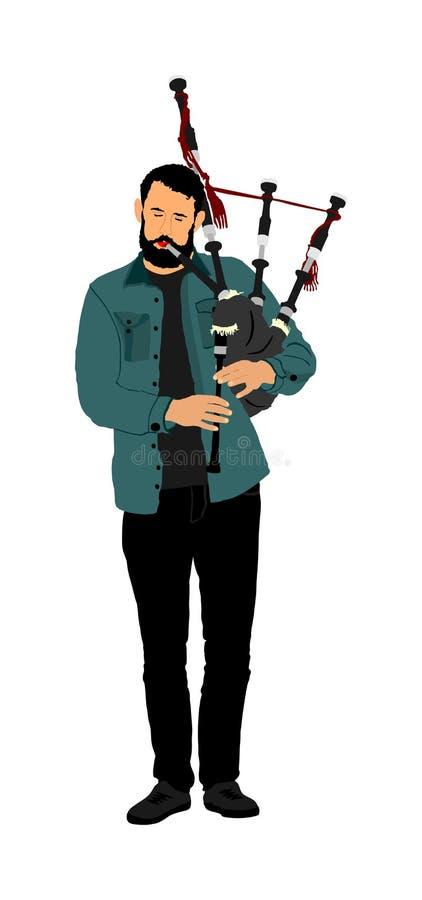 Músico del gaitero en el fondo blanco La calle se realiza Juego del ejecutante de la m?sica en el instrumento tradicional Gaita,  stock de ilustración