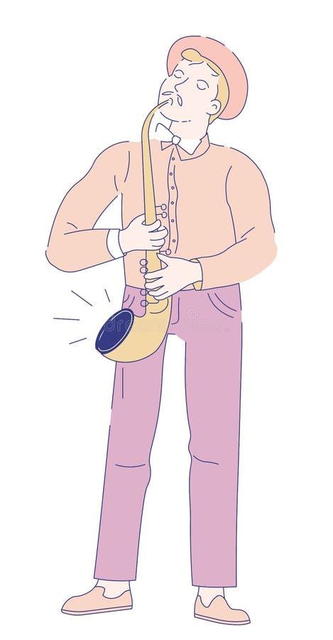 Músico del saxofonista con el ejemplo del vector de la música de jazz del saxofón stock de ilustración