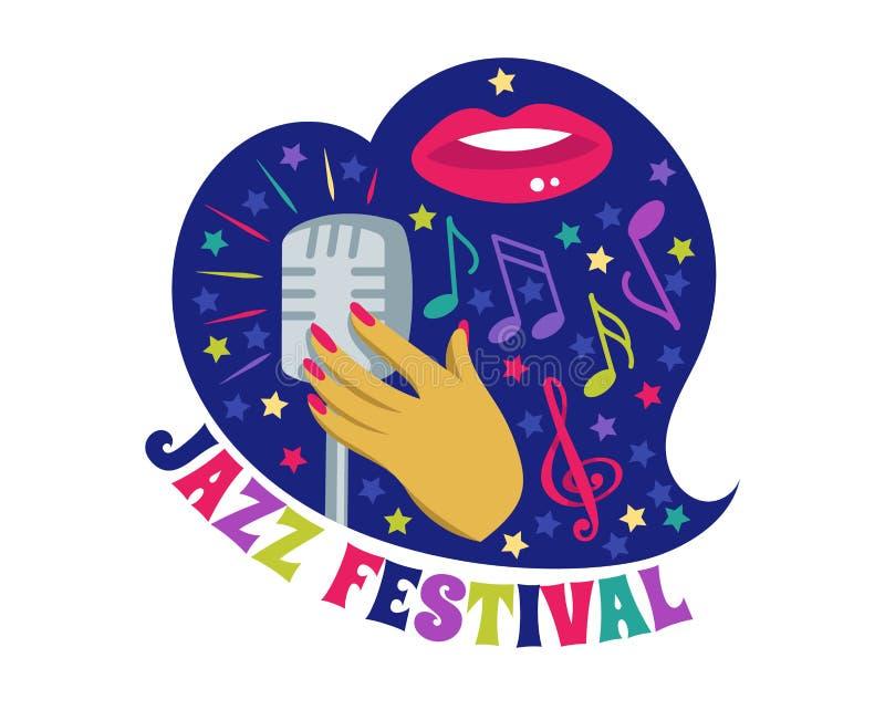 Músico do logotype do instrumento musical do logotipo do concerto da música do vetor do festival de jazz que joga o festival sadi ilustração stock