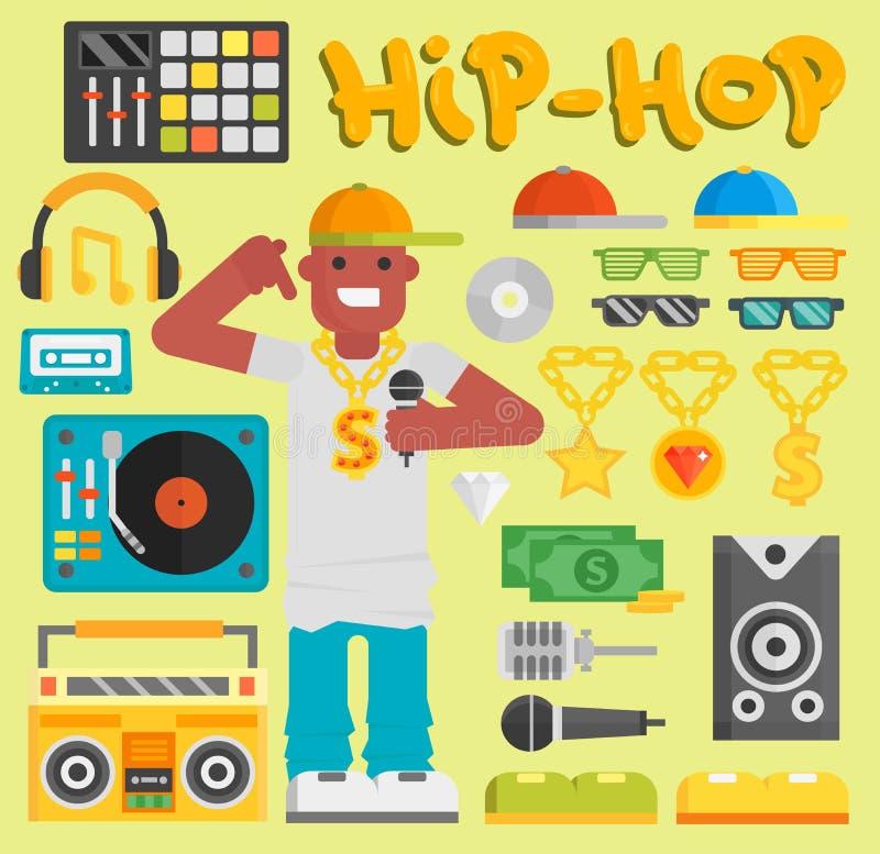 Músico do vetor do homem do hip-hop com do dançarino novo moderno expressivo do indivíduo do rapper da batida do breakdance do mi ilustração do vetor
