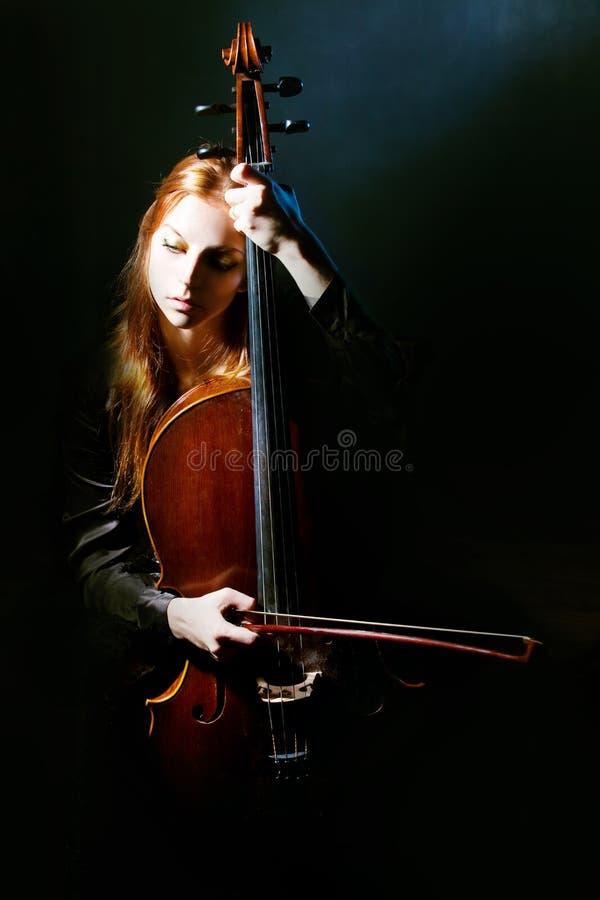 Músico do violoncelo, música Mystical fotos de stock