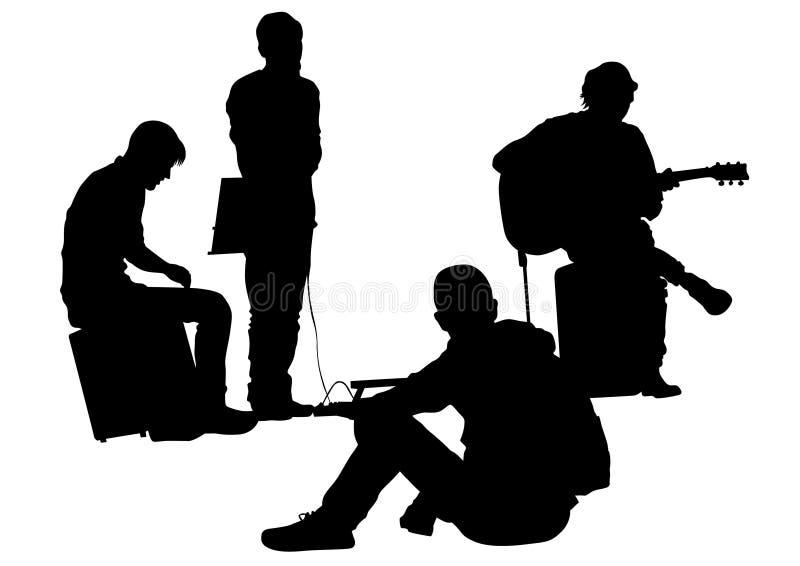 Músico en la calle dos stock de ilustración