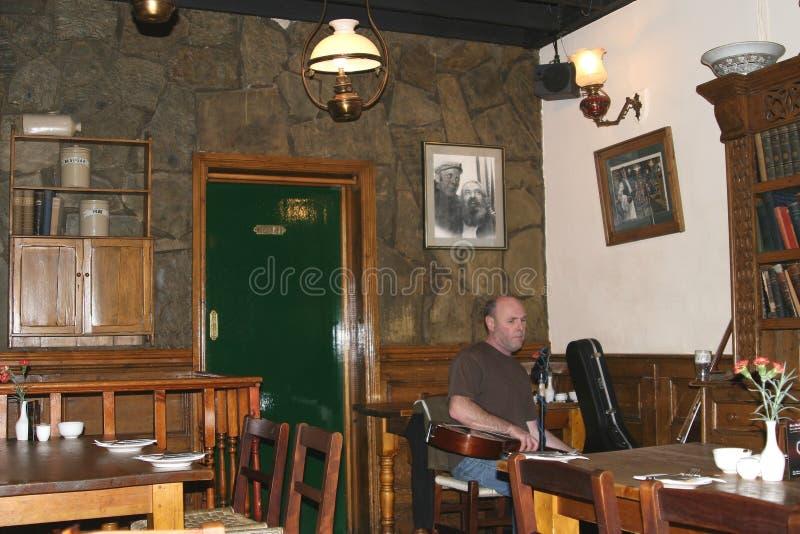 Músico en un pub irlandés en el distrito Dublin Ireland de la barra del templo fotos de archivo libres de regalías