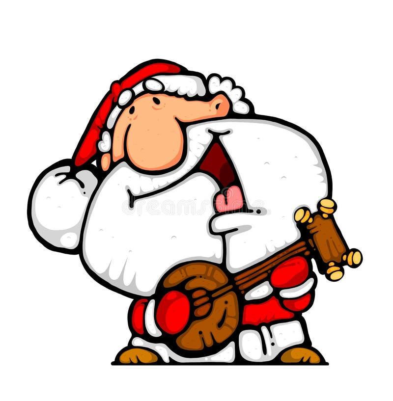 Músico feliz do banjo de Santa ilustração royalty free