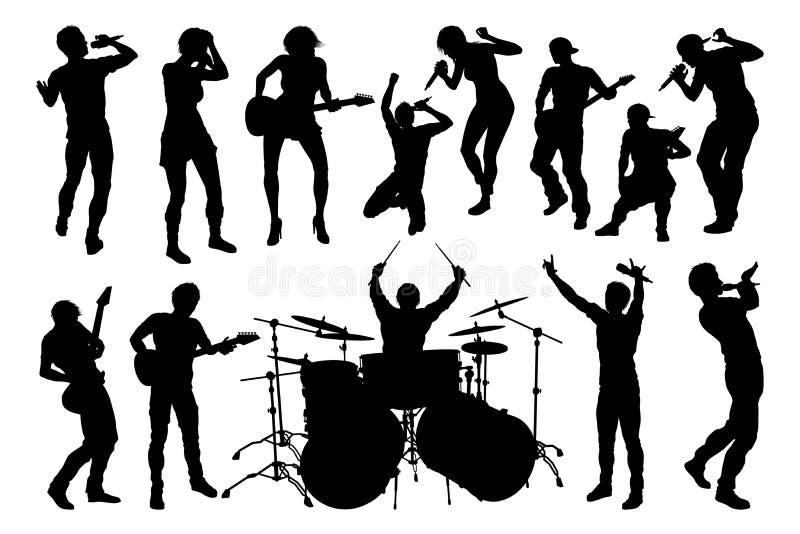 Músico Group Silhouettes ilustração stock