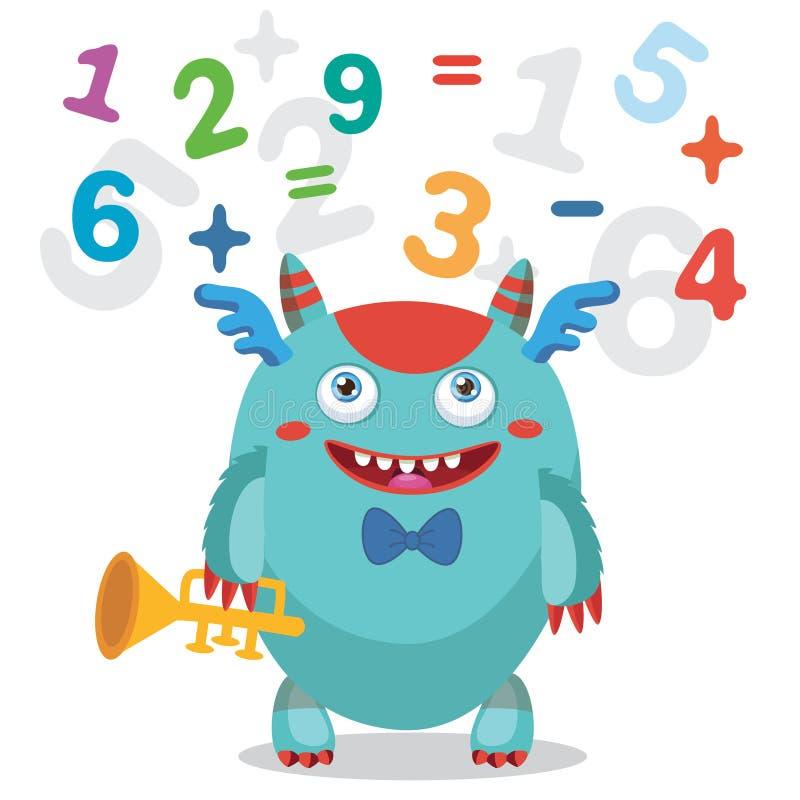 Músico Pipe Monster Ejemplo lindo del vector del monstruo Mascota del monstruo de la historieta De nuevo a tema de la escuela Tub libre illustration