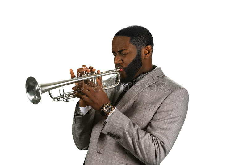 Músico profesional de la trompeta imágenes de archivo libres de regalías