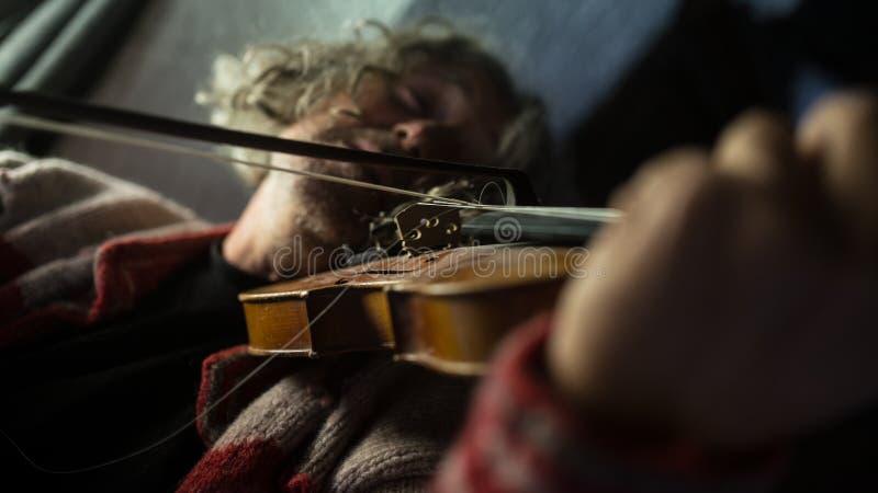 Músico que aprecia sua música como joga um violino fotos de stock royalty free