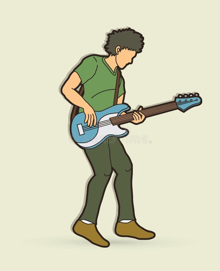 Músico que joga o baixo, faixa da música ilustração stock
